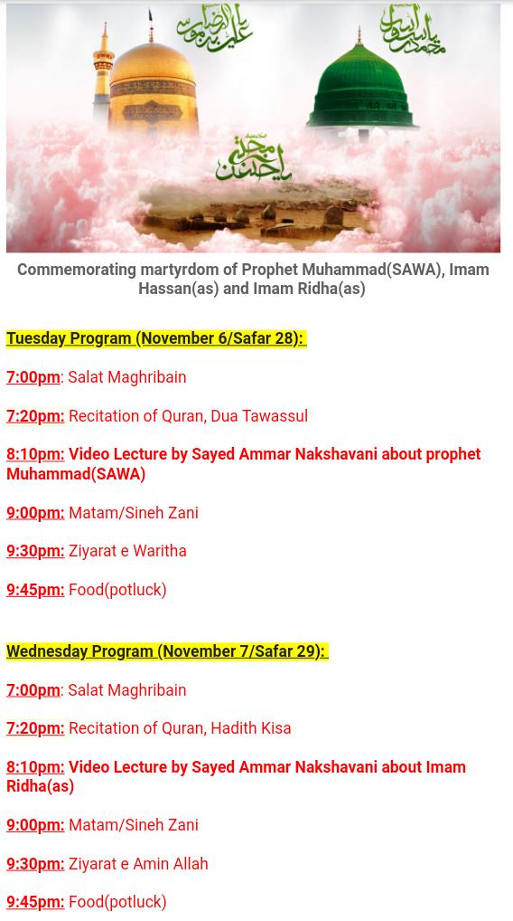Commemorating martyrdom of Prophet Muhammad(SAWA), Imam